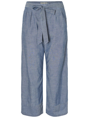 CHAMBRAY WIDE LEG PANTS