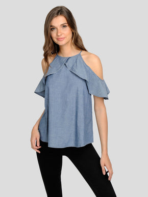 COLD-SHOULDER CHAMBRAY BLOUSE