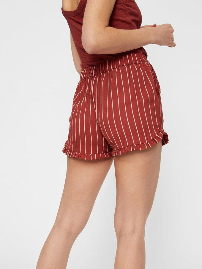 RECYCLED-POLYESTER STRIPED SHORTS COWHIDE