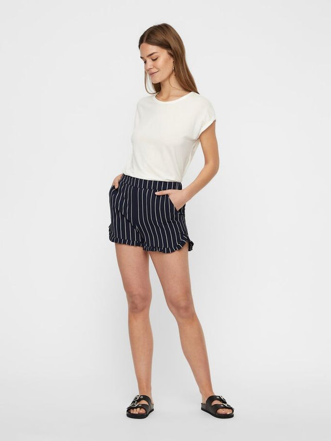 RECYCLED-POLYESTER STRIPED SHORTS NIGHT SKY