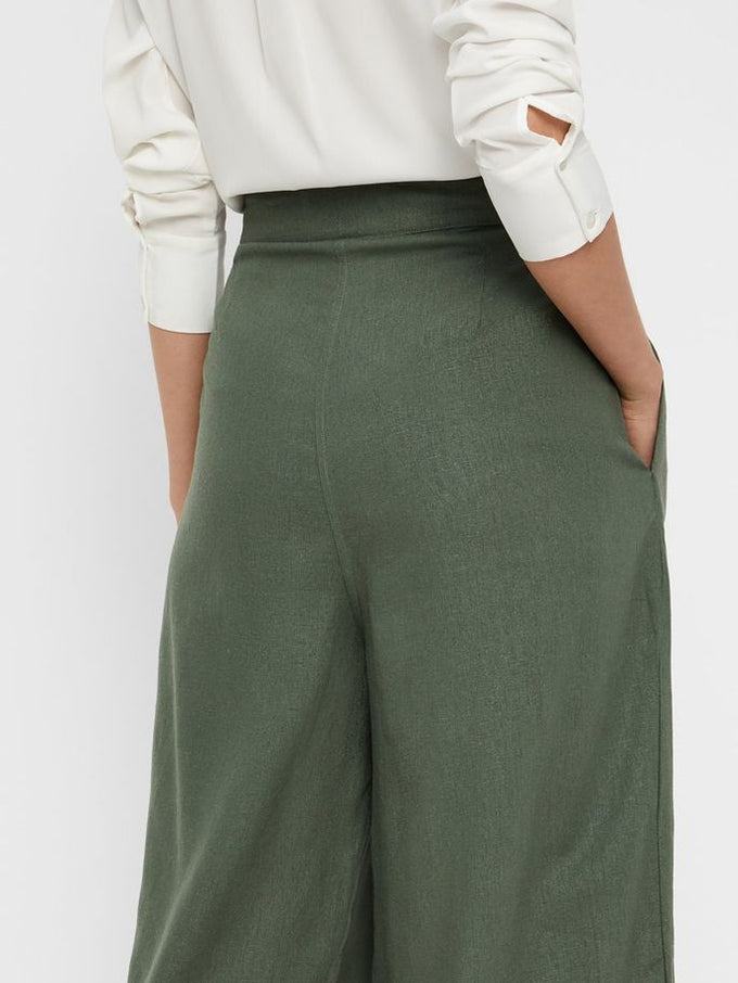 LINEN-BLEND HIGH WAIST CULOTTES LAUREL WREATH