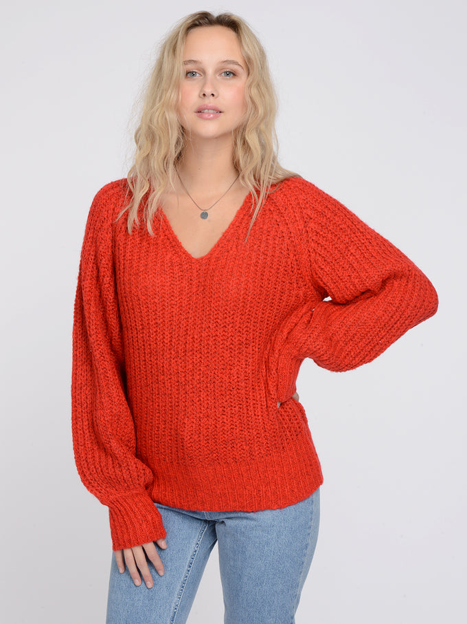 POCA LONG SLEEVE V-NECK BLOUSE HIGH RISK RED