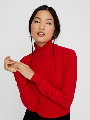 HAPPY BASIC LONG SLEEVE TURTLE NECK SWEATER