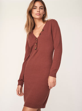 V-Neck Short Sweater Dress With Buttons