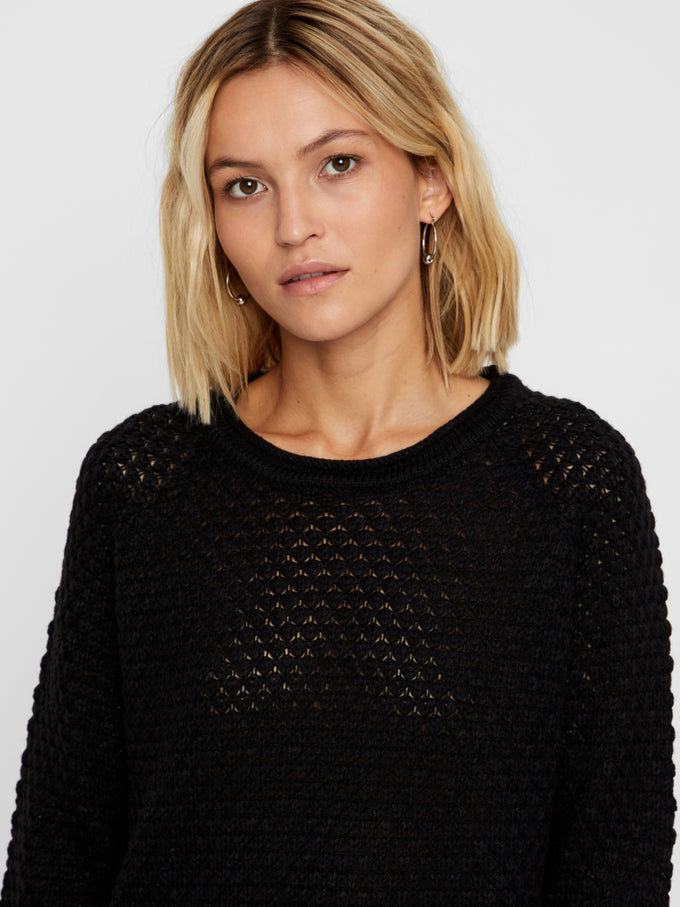 Sweater With Curved Hem BLACK