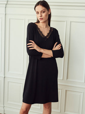 Long Sleeve Dress With Lace Trim