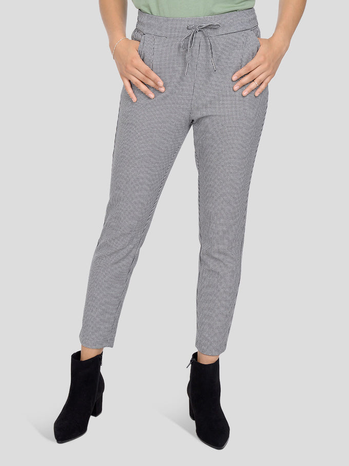 Eva Plaid Pant With Drawstring BLACK