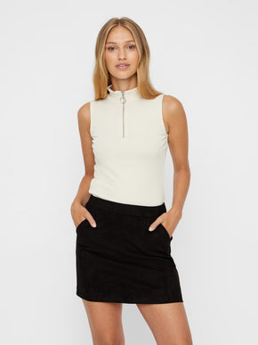 Sleeveless Ribbed Top With Zip