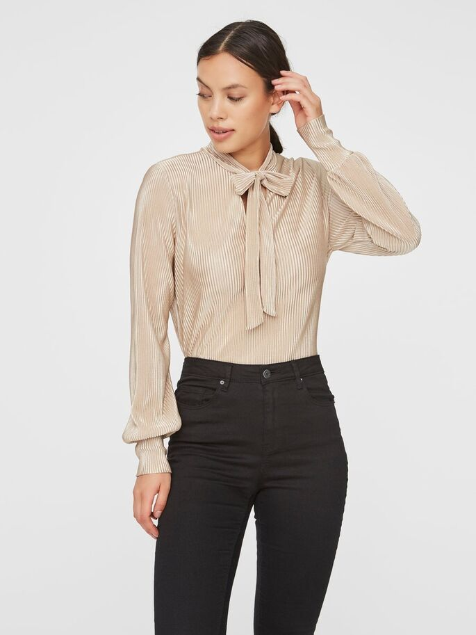 DAGNY LONG SLEEVE V-NECK BOW TOP