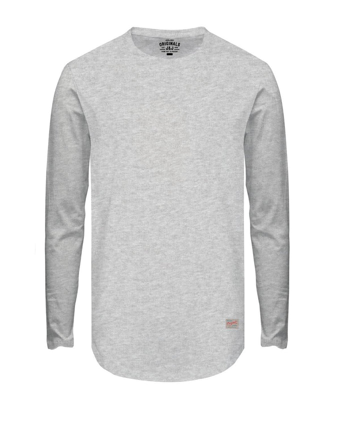 BASIC LONG FIT LONG SLEEVE T-SHIRT LIGHT GREY MELANGE