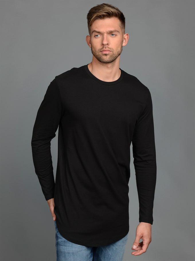 BASIC LONG FIT LONG SLEEVE T-SHIRT BLACK