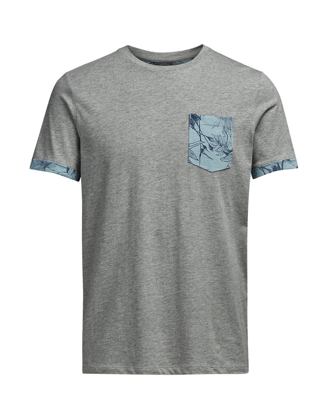 JJORDRAKES T-SHIRT LIGHT GREY MELANGE