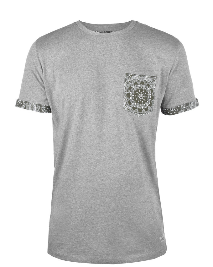 JJORPAISLEY T-SHIRT LIGHT GREY MELANGE