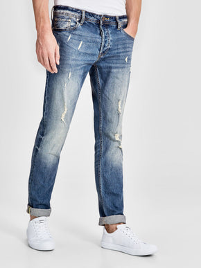 TIM 004 SLIM FIT JEANS WITH USED DETAILS