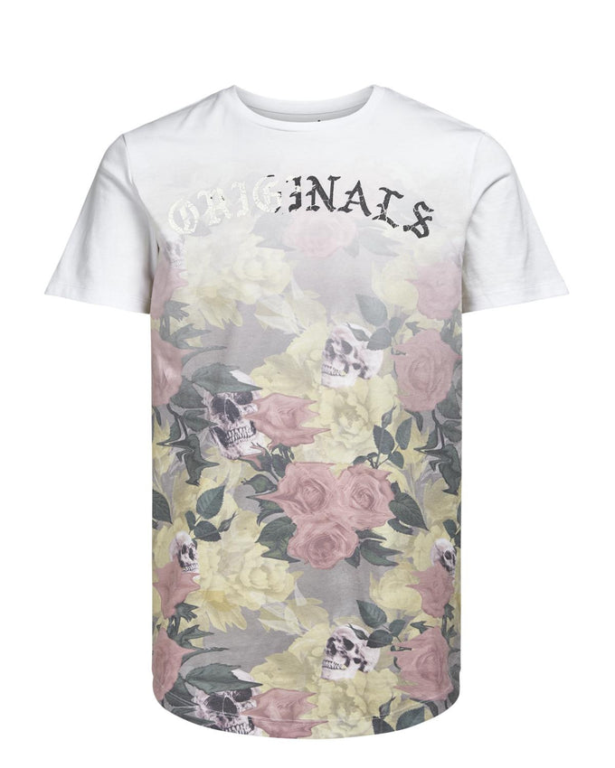 FLOWERS & SKULLS PRINT LONG FIT T-SHIRT WHITE/ANIS