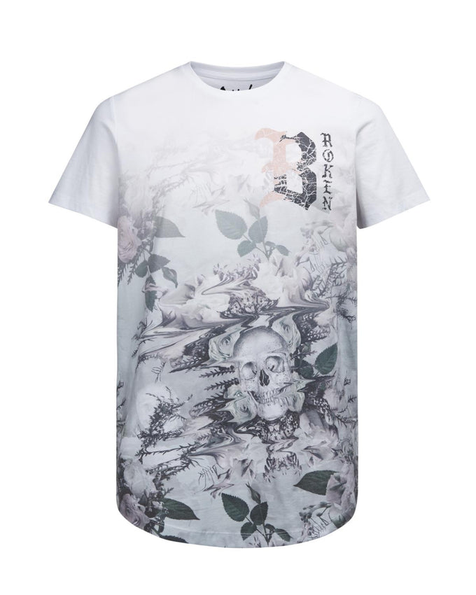 FLOWERS & SKULLS PRINT LONG FIT T-SHIRT WHITE/MIRAGE