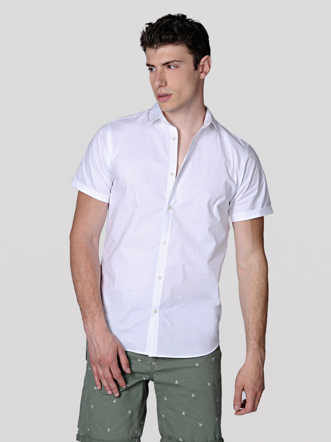 BASIC SLIM FIT SHORT-SLEEVE SHIRT WHITE