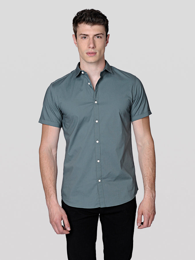 BASIC SLIM FIT SHORT-SLEEVE SHIRT BALSAM GREEN