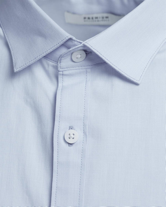 BASIC SLIM FIT SHORT-SLEEVE SHIRT CASHMERE BLUE