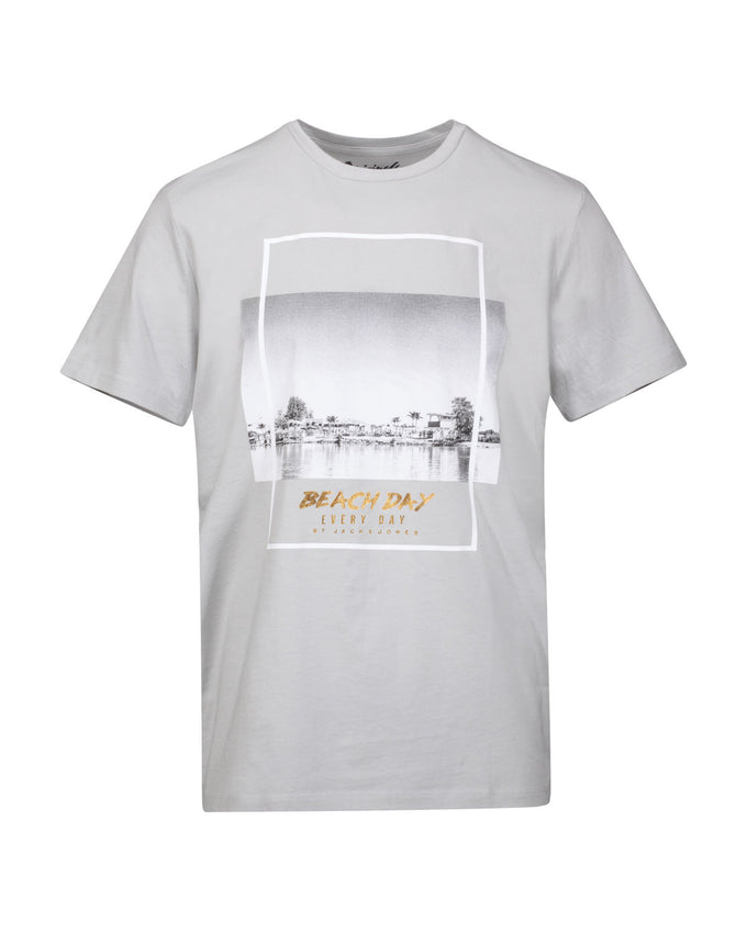 BEACH DAY EVERY DAY PHOTO PRINT T-SHIRT MIRAGE GREY