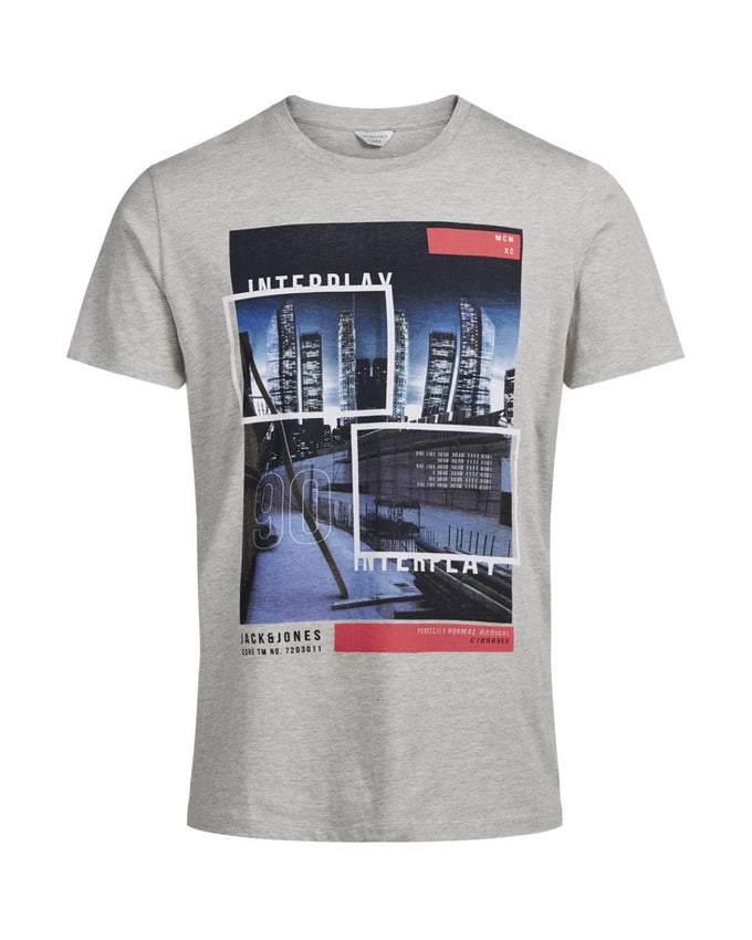 CITY PRINT STRETCH T-SHIRT LIGHT GREY MELANGE