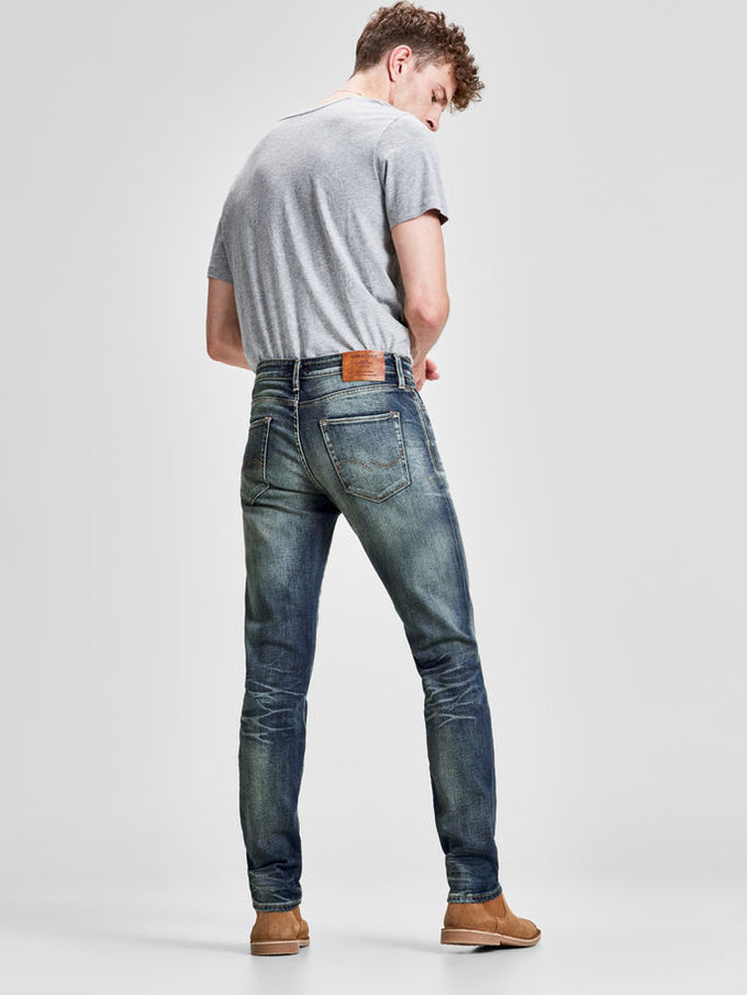 MIKE 785 COMFORT FIT JEANS WITH WORN-IN LOOK BLUE DENIM