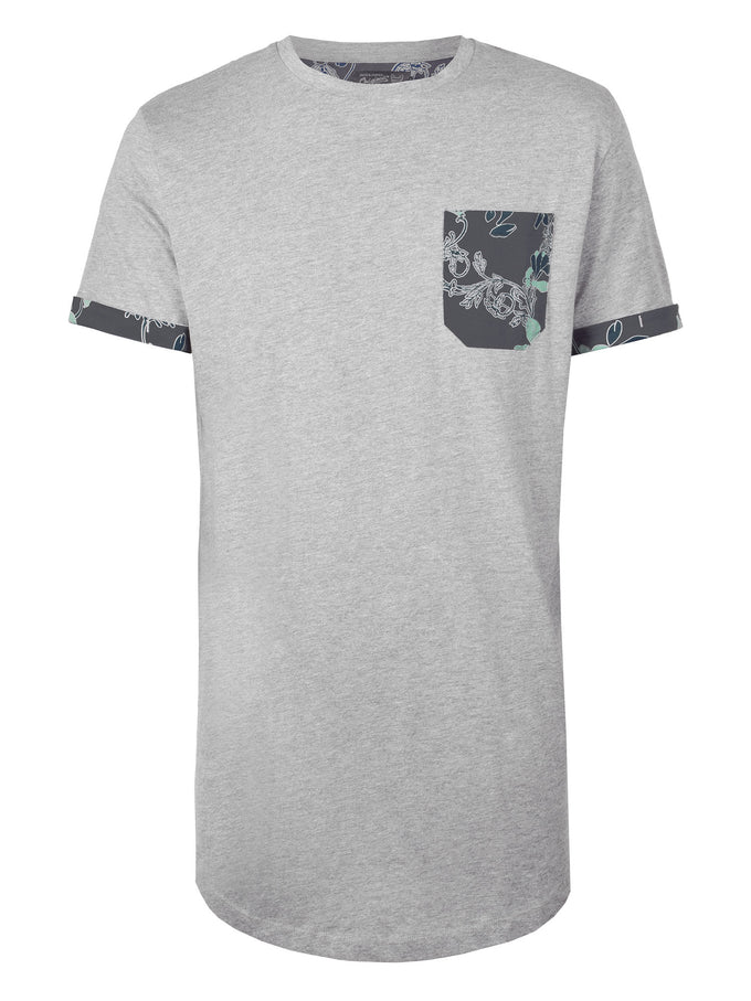 LONG FIT FLORAL PRINT POCKET T-SHIRT LIGHT GREY MELANGE