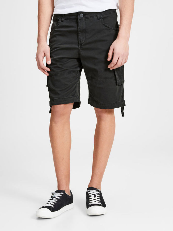 LONG CARGO SHORTS BLACK