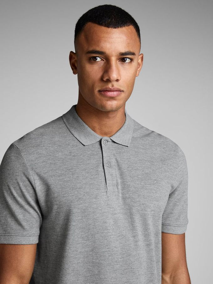 SLIM FIT BASIC POLO LIGHT GREY MELANGE