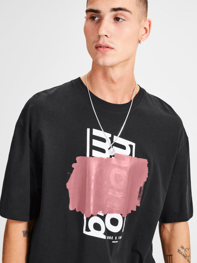 OVERSIZE T-SHIRT WITH PRINTED CORE DETAILS BLACK