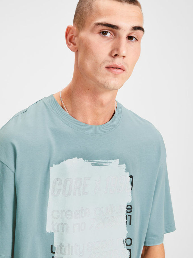 OVERSIZE T-SHIRT WITH PRINTED CORE DETAILS TOURMALINE