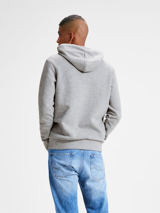 HOODIE WITH JACK & JONES DENIM LOGO LIGHT GREY MELANGE