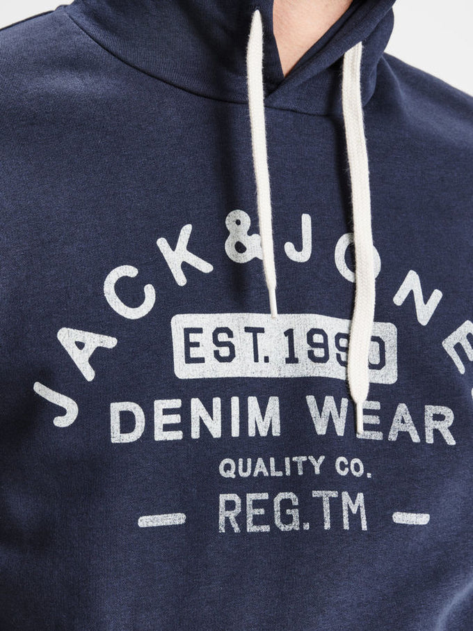 HOODIE WITH JACK & JONES DENIM LOGO NAVY BLAZER