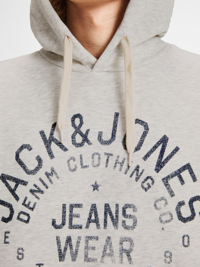 HOODIE WITH JACK & JONES DENIM LOGO WHITE MELANGE