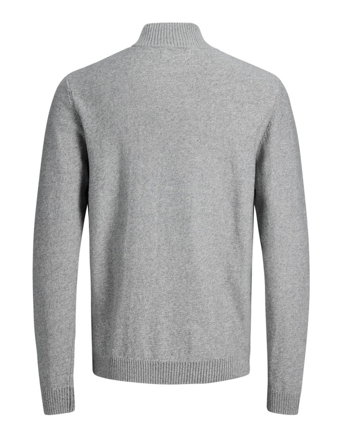 HALF-ZIP PREMIUM SWEATER LIGHT GREY MELANGE