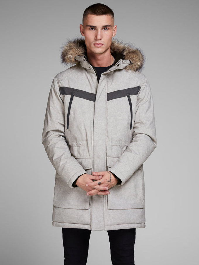 5281398fd54a CORE PARKA WITH FAUX-FUR HOOD LIGHT GREY MELANGE