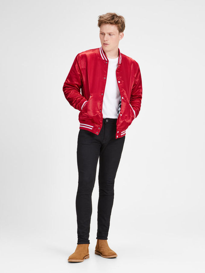 BOMBER JACKET WITH CHECKERED LINING SCARLET