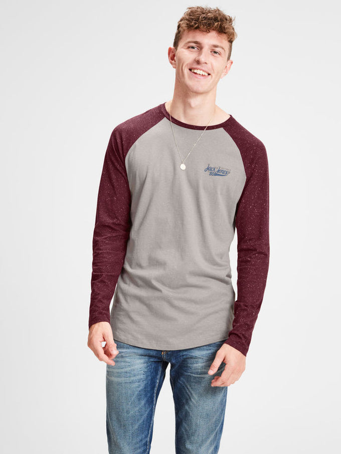 BASEBALL T-SHIRT WITH FLECKED SLEEVES PORT ROYALE