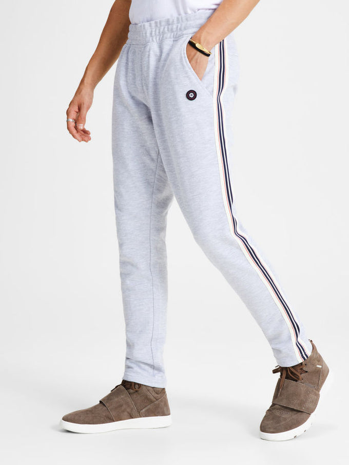 CORE STRIPED STRIPED SWEATPANTS LIGHT GREY MELANGE