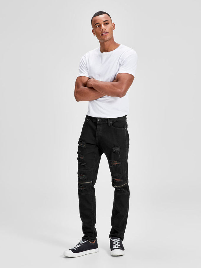 BIKER STYLE GLENN 736 JEANS WITH ZIPS BLACK DENIM