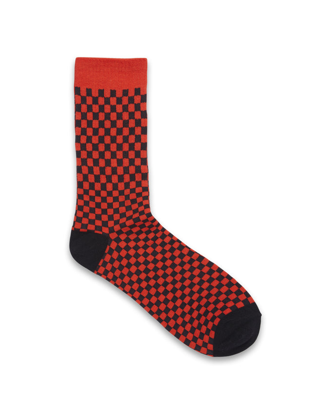 CHECKERED SOCKS FIERY RED