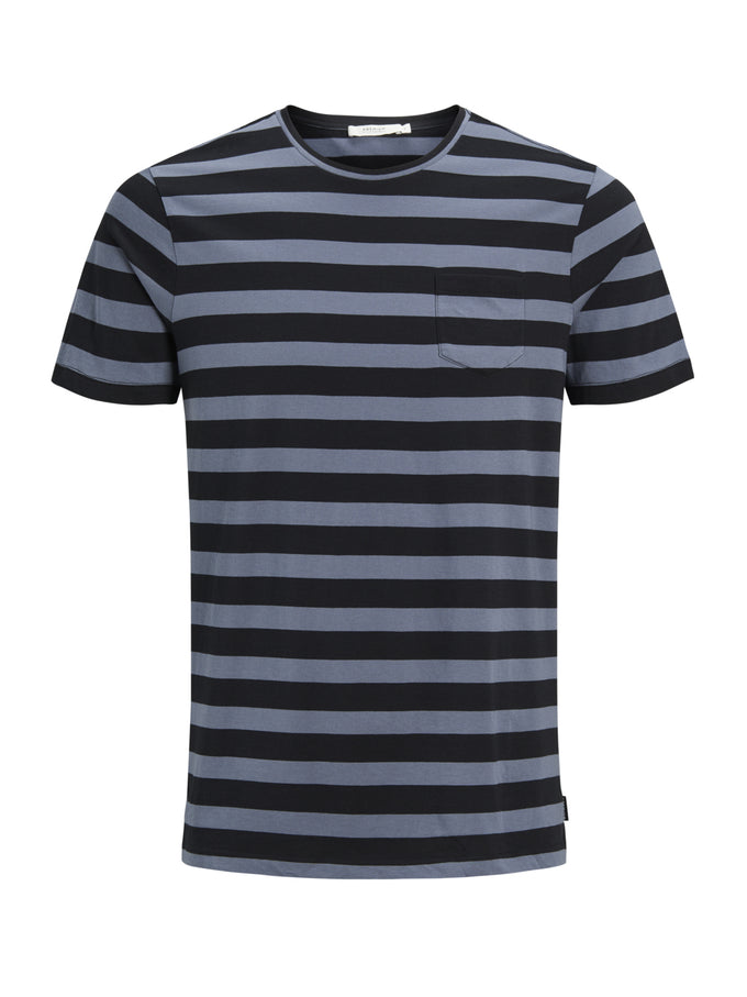 PREMIUM STRIPED POCKET T-SHIRT GRISAILLE