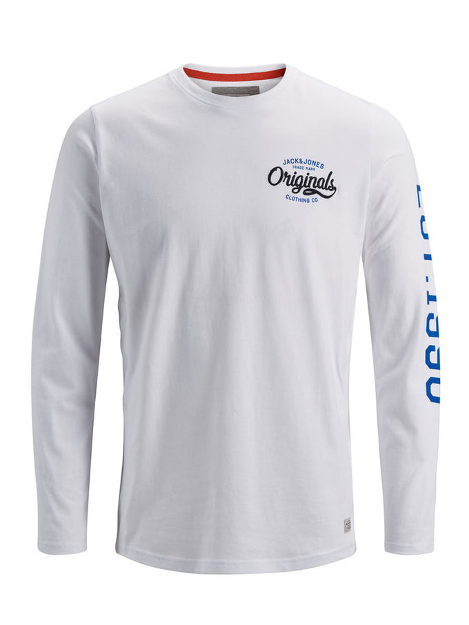 88885daf4ddb LONG SLEEVE T-SHIRT WITH PRINTED SLEEVES WHITE
