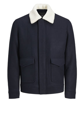 WOOL JACKET WITH TEDDY LINED COLLAR