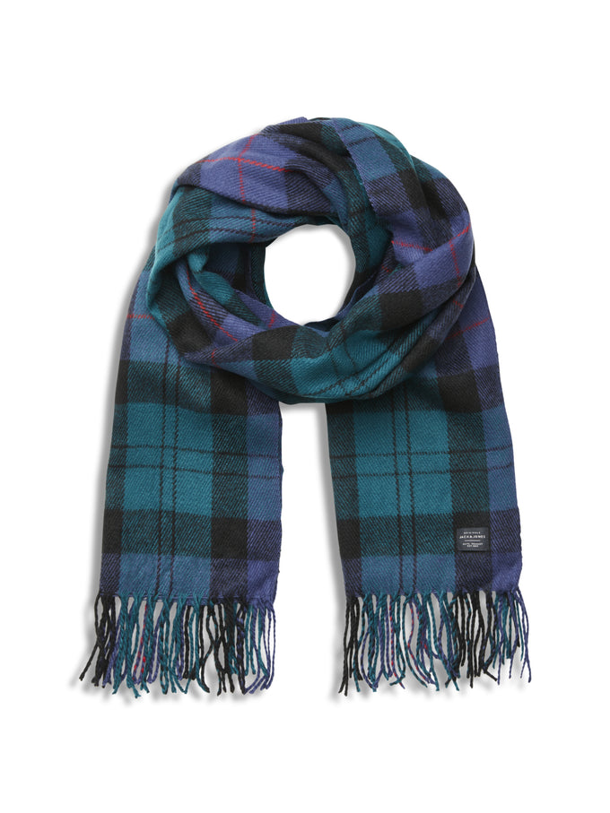 CHECKERED SCARF WITH FRILLS BLACK