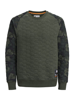 QUILTED SWEATSHIRT WITH CAMO SLEEVES