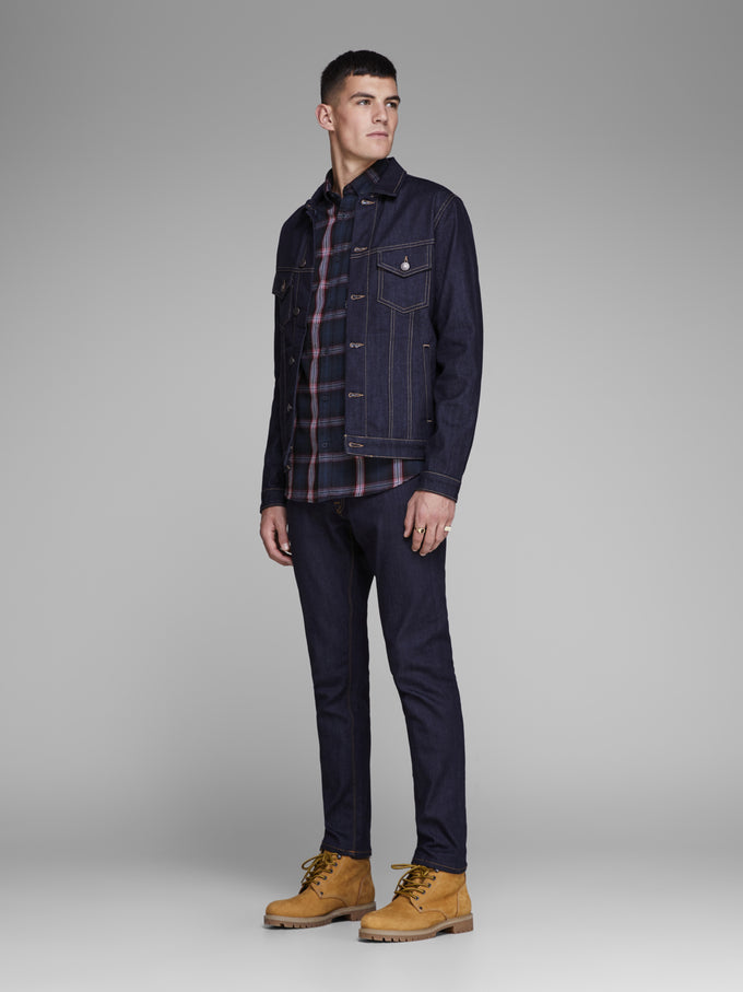 CHECKERED SHIRT WITH CONTRAST POCKET TANGO RED