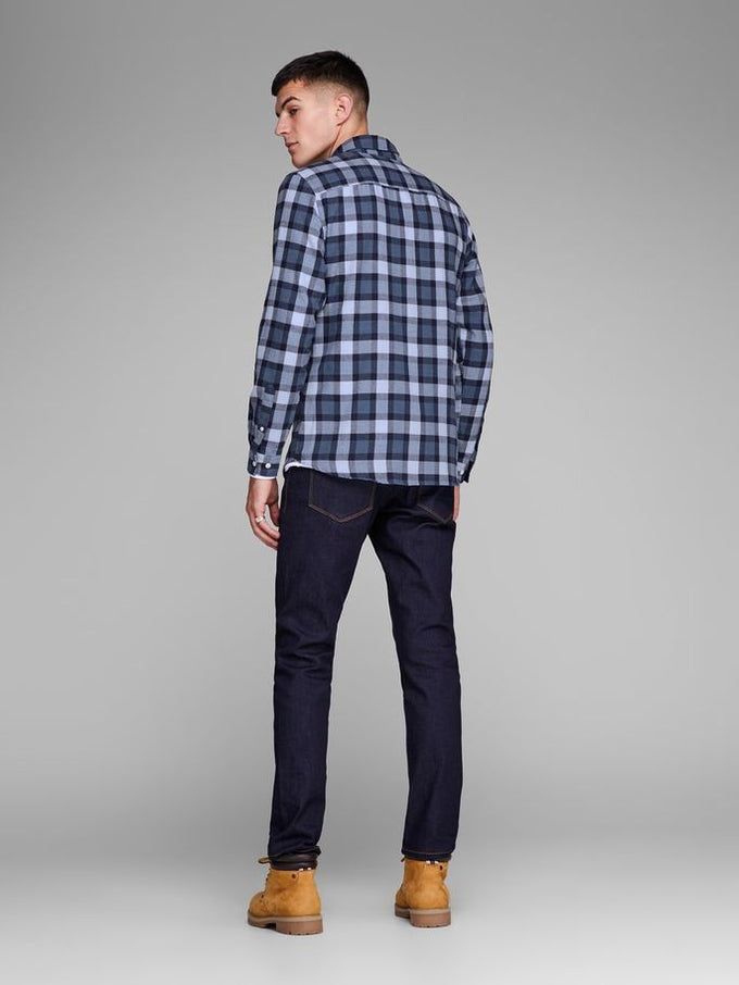 CHECKERED SHIRT WITH CONTRAST POCKET SKY CAPTAIN