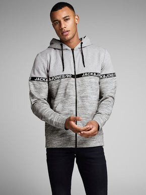 ZIP-UP HOODIE WITH HEATHERED DETAILS