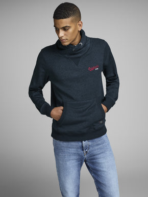 HIGH-NECK HEATHERED HOODIE
